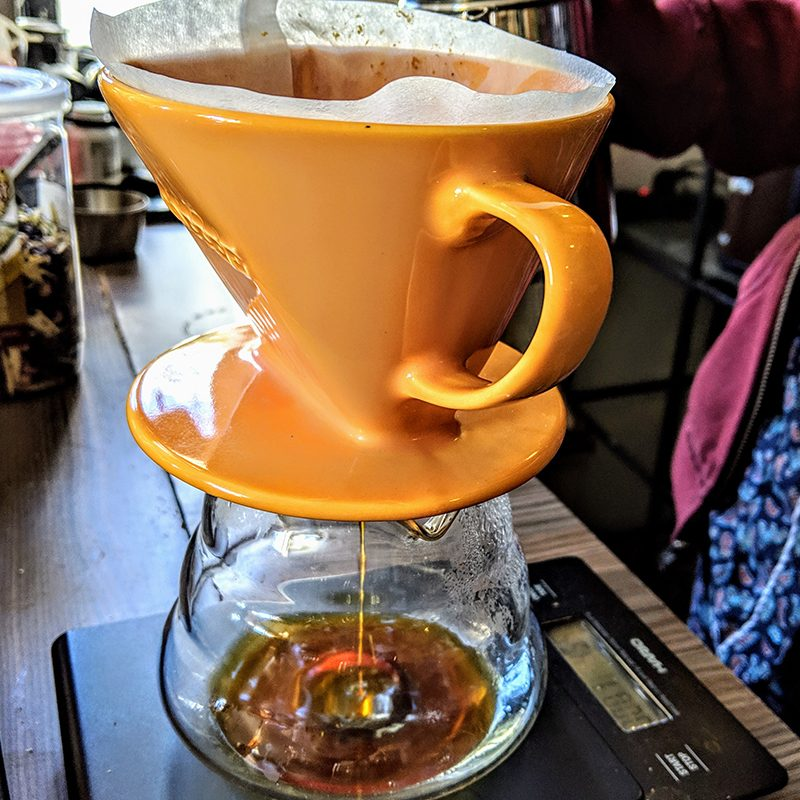 Drip method for brewing coffee