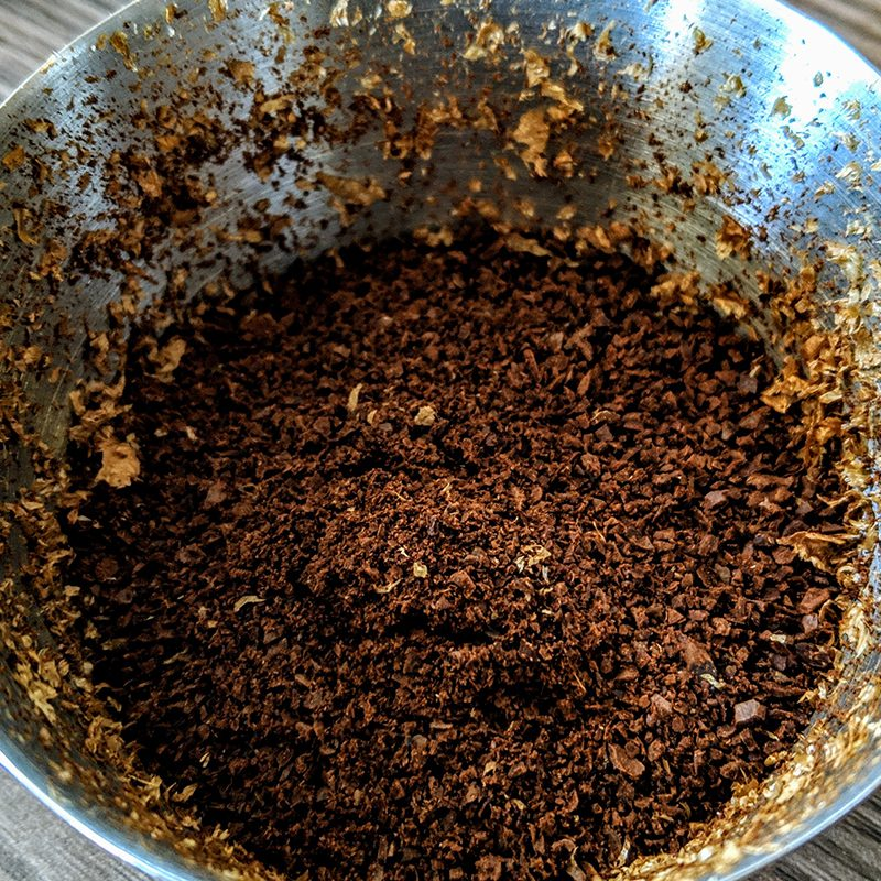 Coffee grounds in bowl