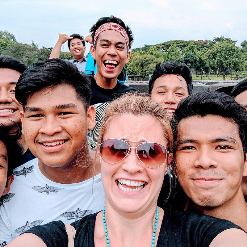 Group of people in selfie