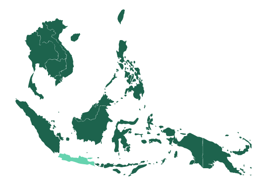 Map of Java and Southeast Asia